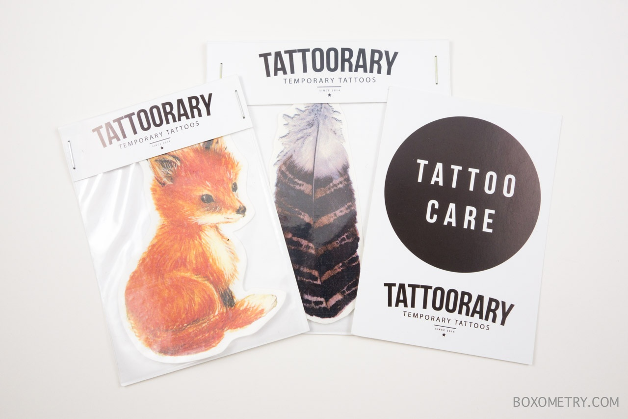 Boxometry Kairos July 2015 Review - Little Fox & Striped Feather Tattoos (Tattoorary)