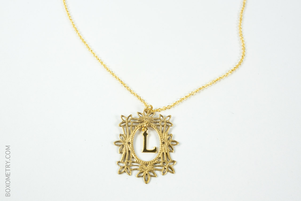 Boxometry Kairos October 2015 Review - Framed Letter Necklace (BrooklynRehab)