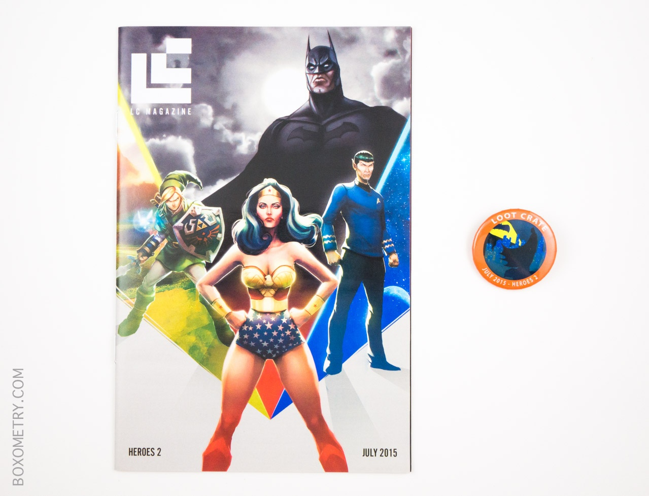Boxometry Loot Crate July 2015 Review - Mini Magazine and Heroes 2 Pin