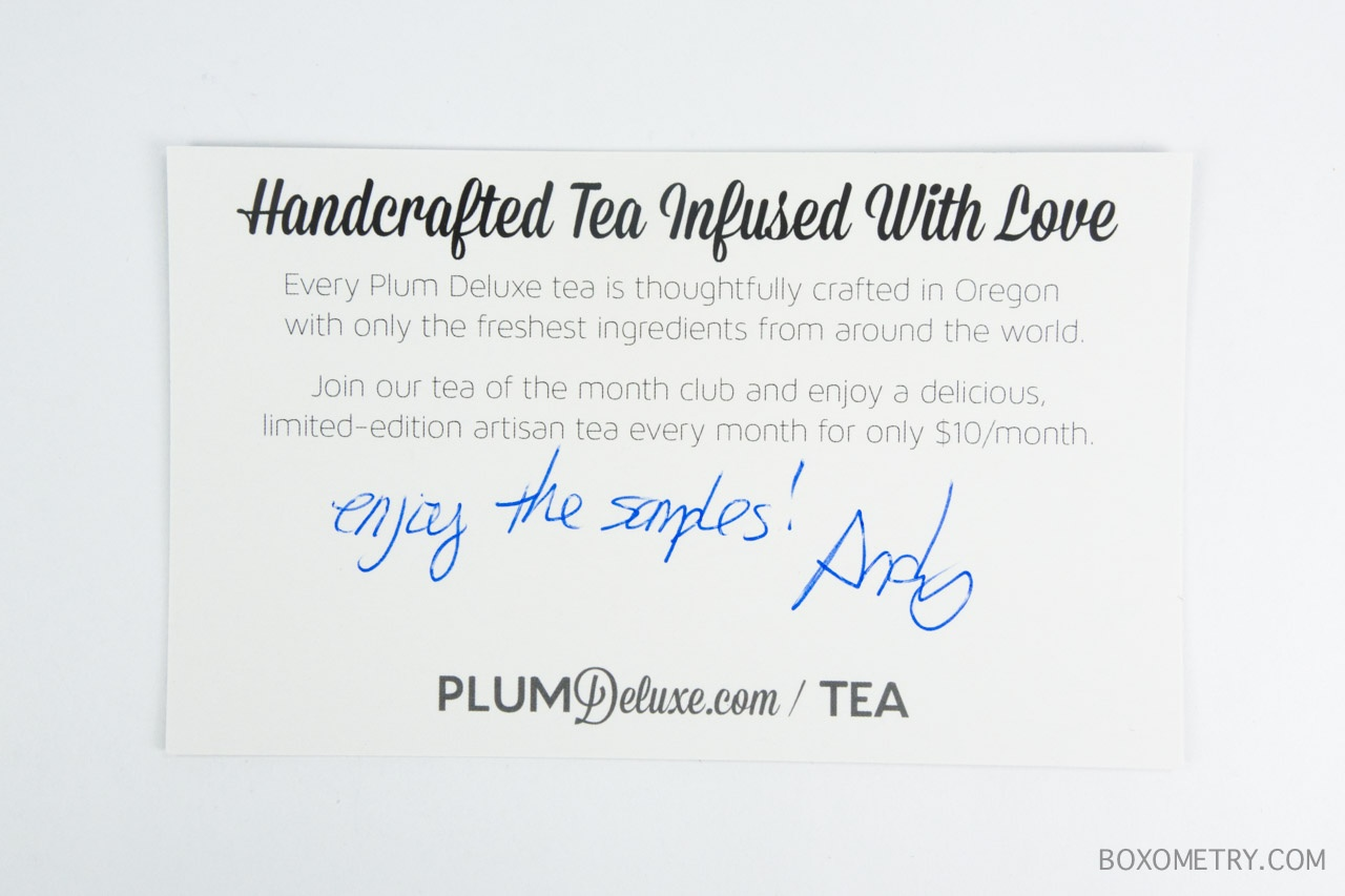 Boxometry November 2015 Plum Deluxe Tea of the Month Club Review - Card