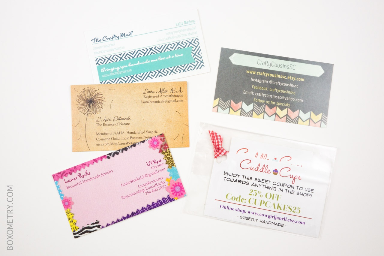Boxometry Love The Crafty Mail July 2015 Review - Coupons and Business Cards