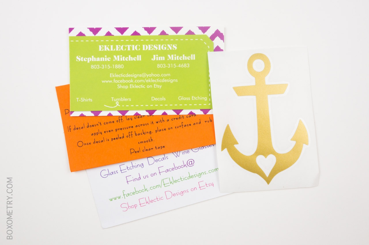Boxometry Love The Crafty Mail July 2015 Review - Anchor Decal (Eklectic Designs)